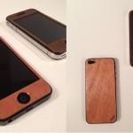 iPhone5にリアル木製ステッカー貼った