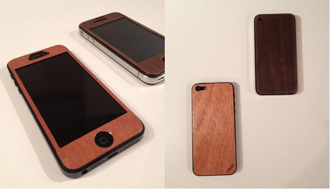 iPhone5にリアル木目ステッカー貼った